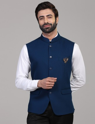 Royal blue solid knitted waistcoat