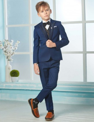 Royal blue solid tuxedo suit in terry rayon fabric