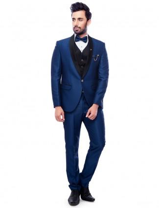 Royal blue stylish terry rayon coat suit