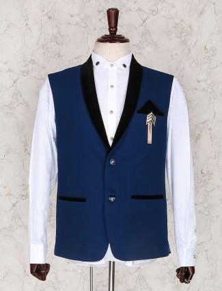 Royal blue terry rayon men waistcoat