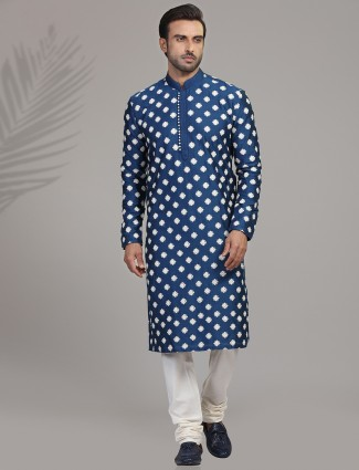 Royal blue thread work cotton silk kurta suit