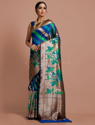 Royal blue thread zari weaving banarasi silk saree