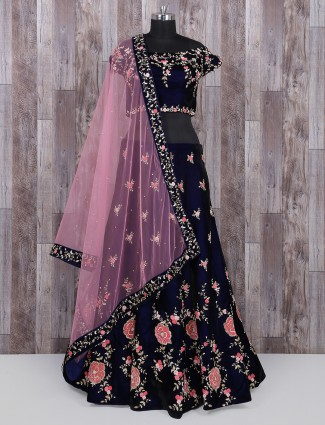 Royal blue vellvet fabric designer lehenga choli