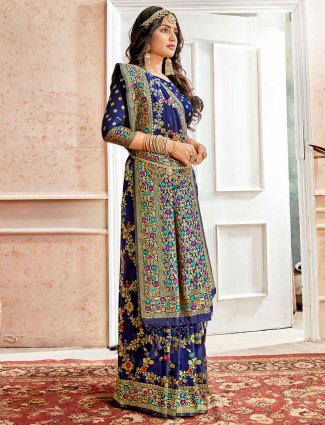 Royal blue wedding designer saree in banarasi silk