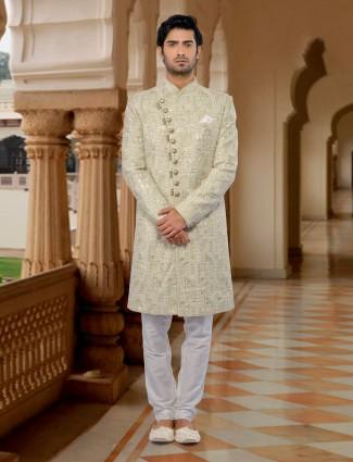 Royal pista green lakhnavi work sherwani set