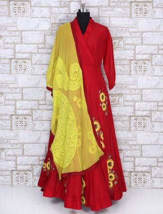 Royal red color designer anarkali suit