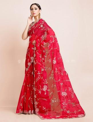 Royal red organza tissue silk saree for wedding