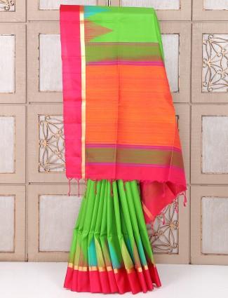 Royal Wedding Green and pink silk saree