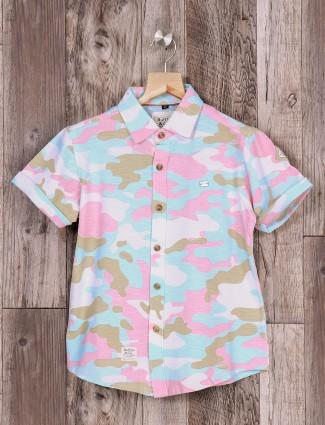 Ruff aqua and pink shirt