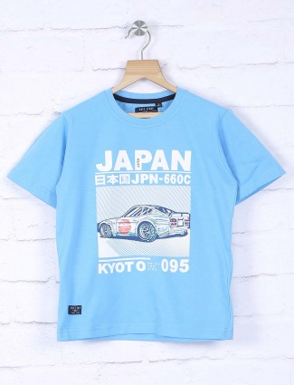 Ruff aqua hued printed t-shirt