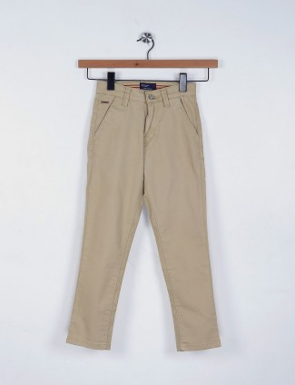 Ruff beige plain cotton fabric casual trouser