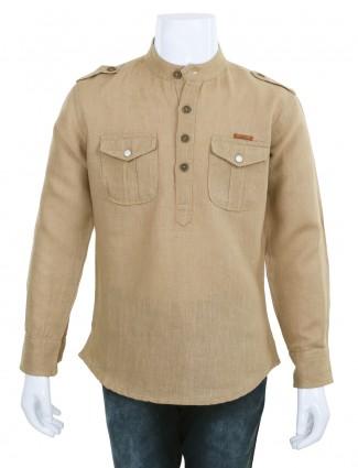 Ruff beige plain linen casual wear shirt for boys