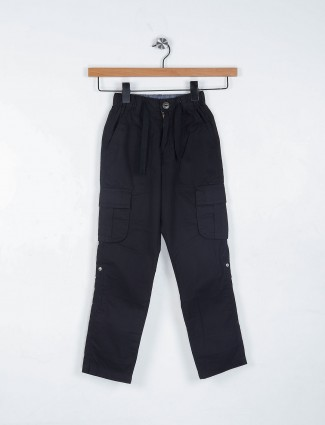 Ruff black solid cotton trouser