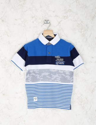 Ruff blue and whitte solid t-shirt