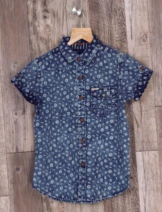 Ruff blue boys casual shirt