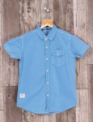 Ruff blue color solid shirt