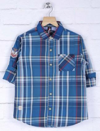 Ruff blue cotton checks shirt