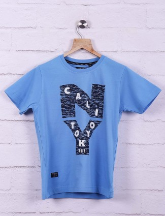 Ruff blue printed casual wear t-shirt