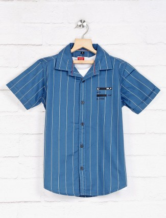 Ruff blue stripe slim collar shirt