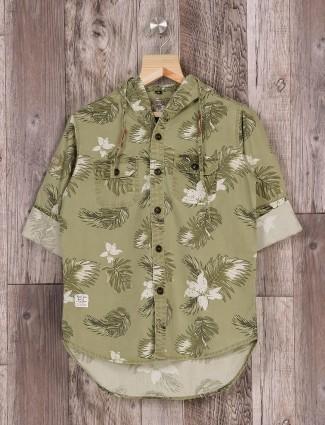 Ruff boys olive printed shirt