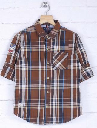 Ruff brown checks slim fit shirt