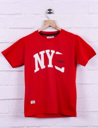 Ruff casual wear red printed t-shirt