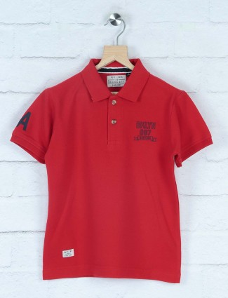 Ruff casual wear red solid t-shirt