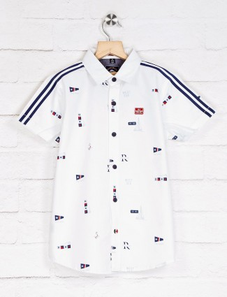Ruff casual white printed shirt