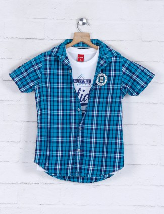 Ruff checks blue cotton casual boys shirt