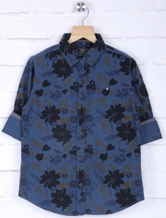 Ruff cotton fabric navy hued shirt