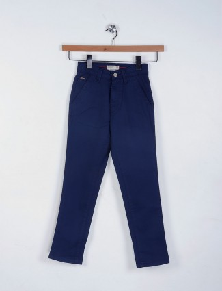 Ruff cotton fabric plain navy trouser