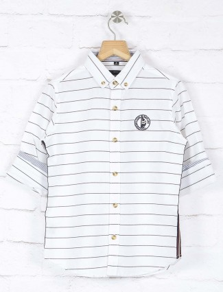 Ruff cotton fabric white stripe shirt