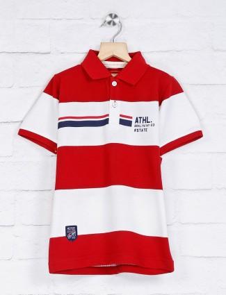Ruff cotton maroon and white stripe t-shirt