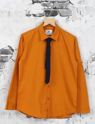 Ruff cotton orange color shirt