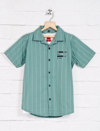Ruff green stripe design boys shirt