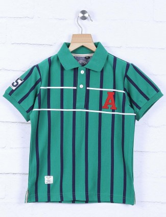 Ruff green striped pattern t-shirt