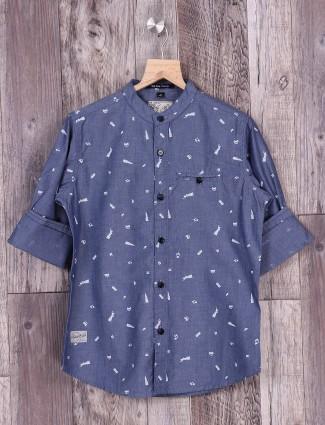 Ruff grey color slim fir shirt
