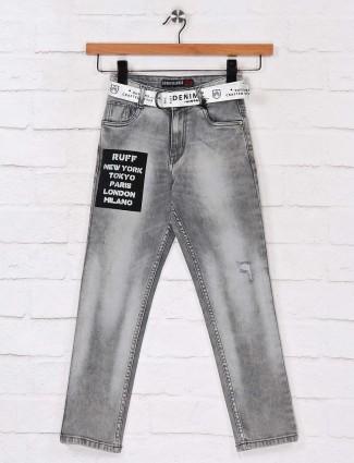 Ruff grey designer solid jeans