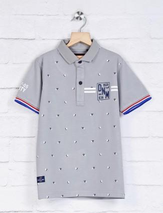 Ruff grey printed polo neck t-shirt