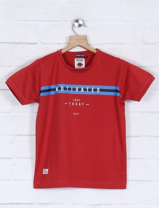 Ruff half sleeves maroon printed boys t-shirt