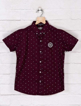 Ruff half sleeves wine purple printed shirt