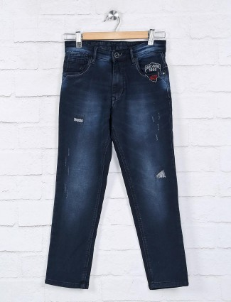 Ruff latest navy solid slim fit jeans