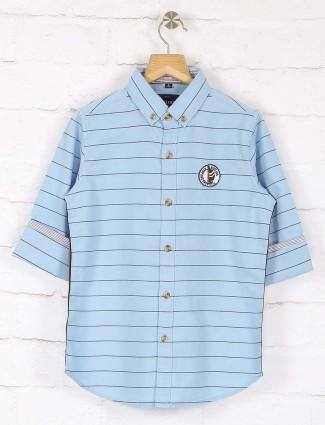 Ruff light blue cotton stripe shirt