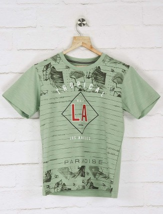 Ruff light green printed casual t-shirt