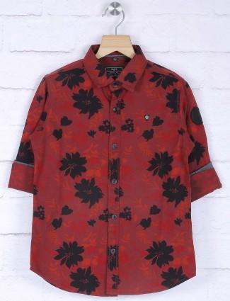 Ruff maroon printed pattern shirt