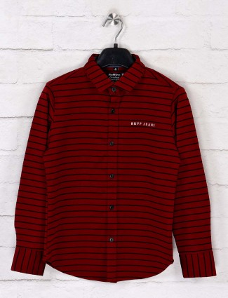 Ruff maroon stripe casual wear shirt