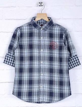 Ruff navy checks boys shirt