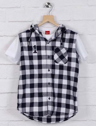 Ruff navy hued checks pattern shirt