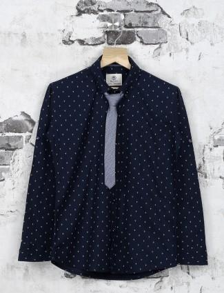 Ruff navy printed pattern shirt