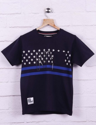 Ruff navy printed slim fit t-shirt